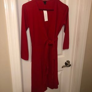 Ann Taylor Red Wrapped Dress